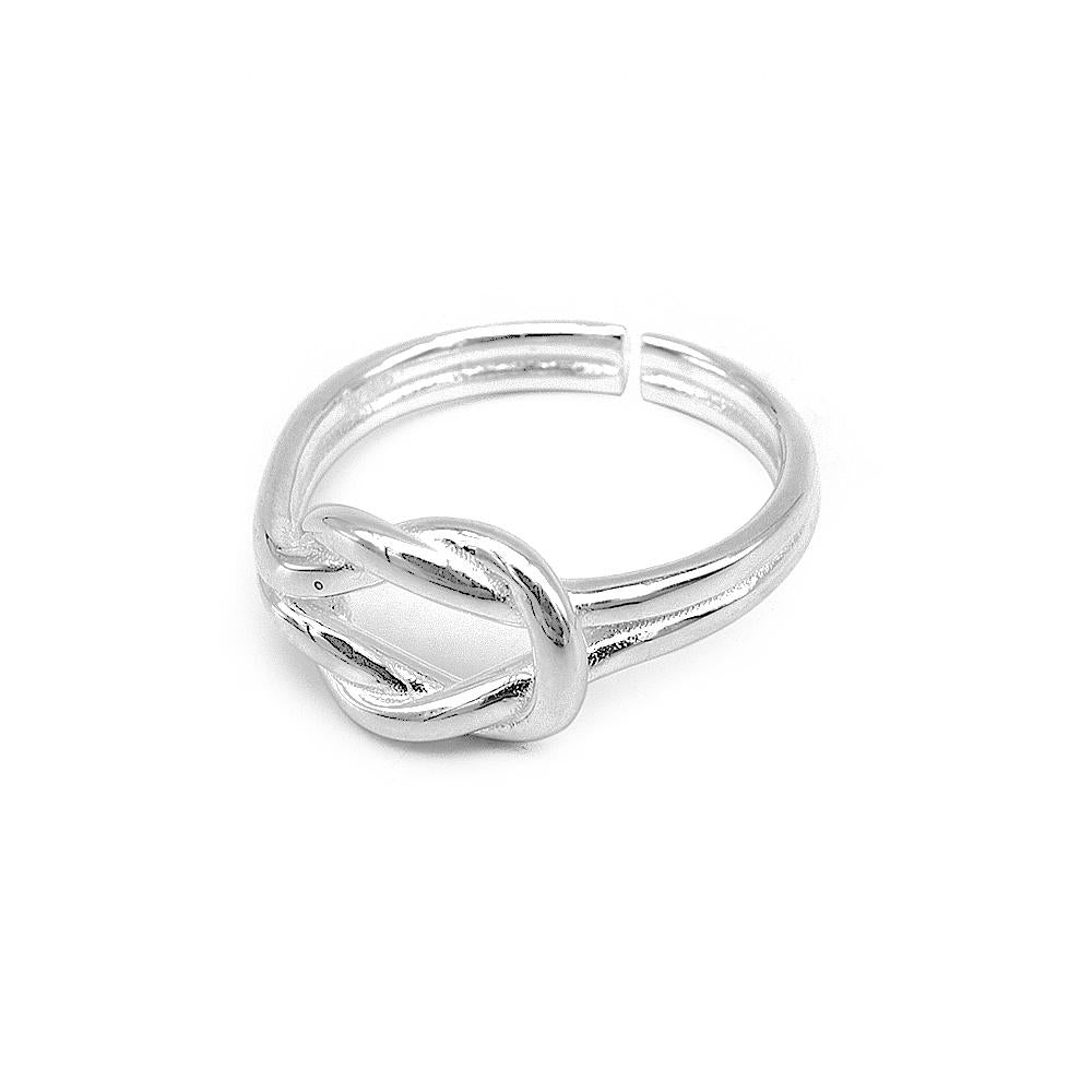 Ida Adjustable Silver Reef Knot Ring 2