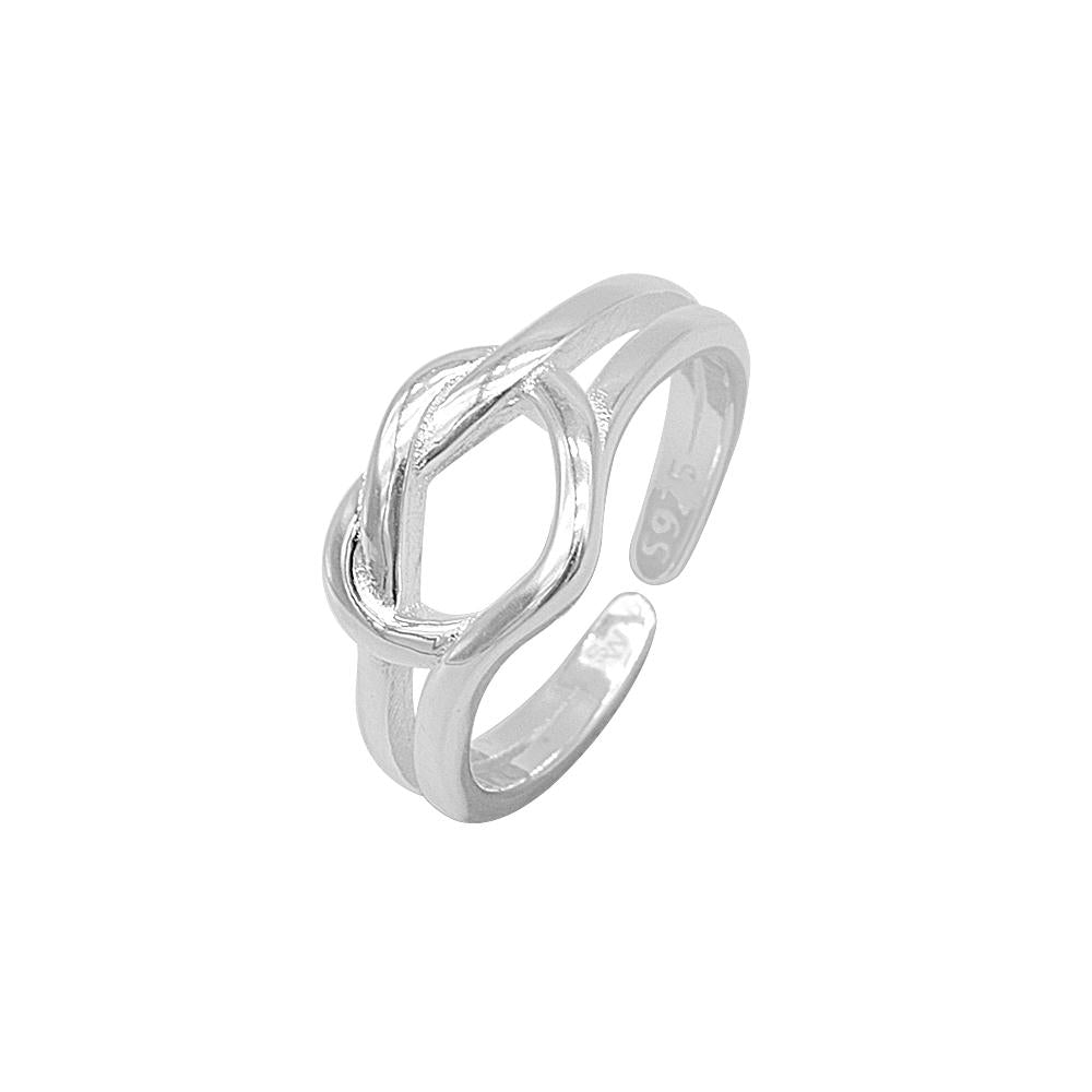 Inaya Adjustable Silver Heart Knot Ring