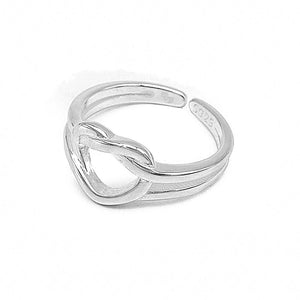 Inaya Adjustable Silver Heart Knot Ring 2
