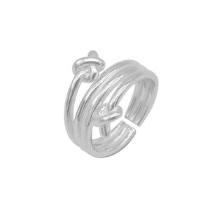 Irina Adjustable Silver Knotted End Ring