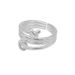 Irina Adjustable Silver Knotted End Ring 2