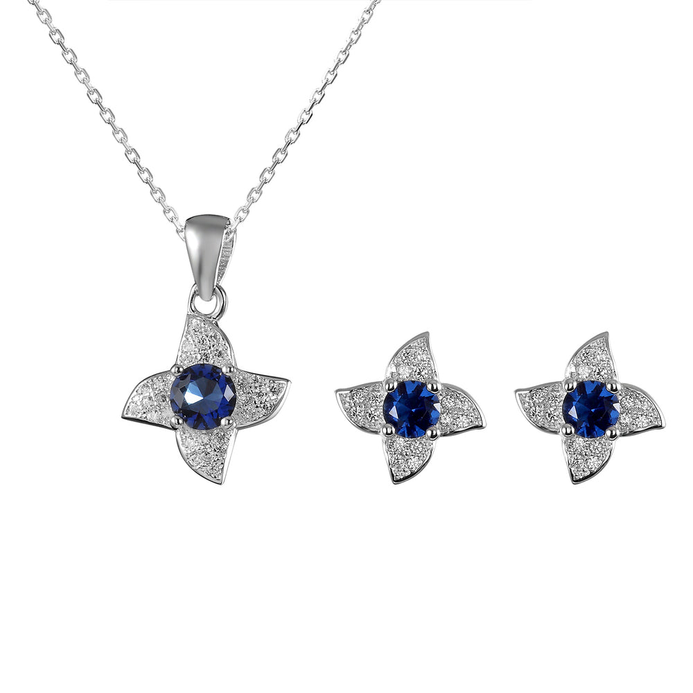 Sheena Flower Silver Earrings and Necklace Set with Gem and Cubic Zirconia