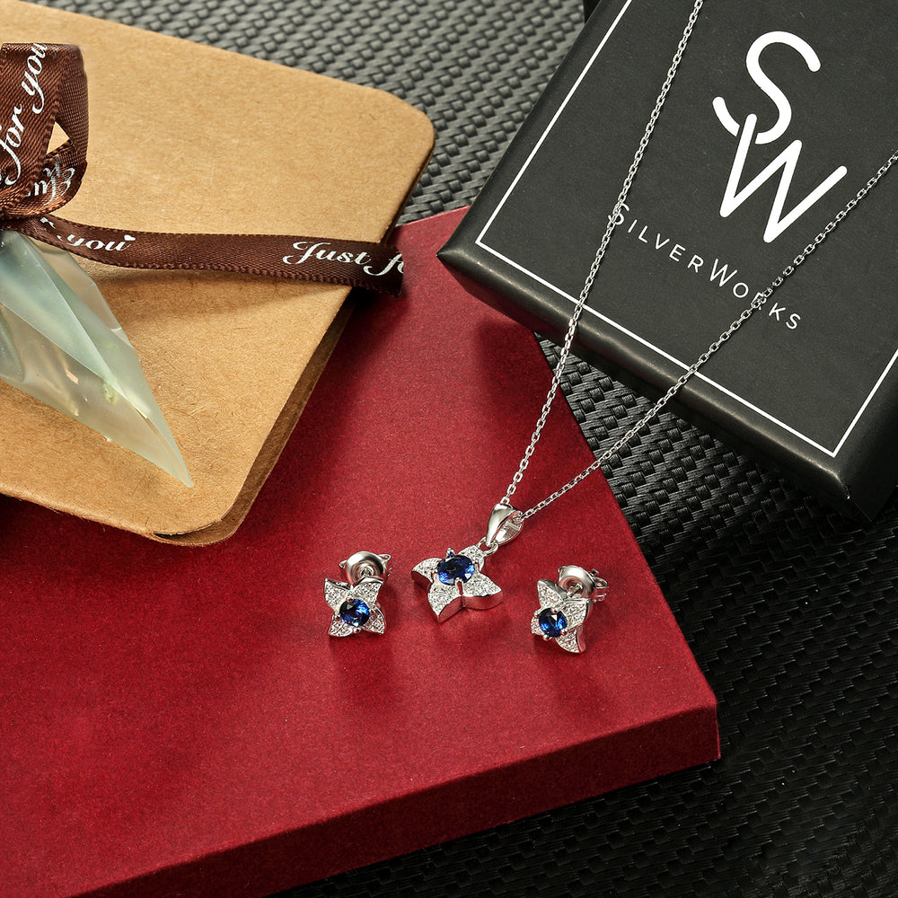 Sheena Flower Silver Earrings and Necklace Set with Gem and Cubic Zirconia Box Packaging