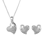 Sidney Heart Star Silver Earrings and Necklace Set with Cubic Zirconia