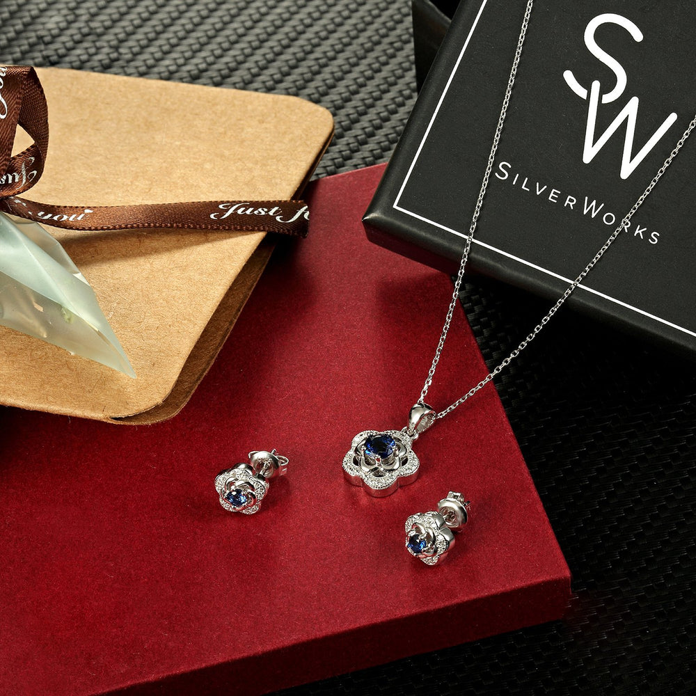 Load image into Gallery viewer, Susie Two-Flower Silver Earrings and Necklace Set with Cubic Zirconia and Gem Box Packaging