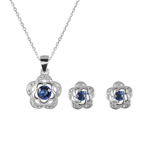 Susie Two-Flower Silver Earrings and Necklace Set with Cubic Zirconia and Gem