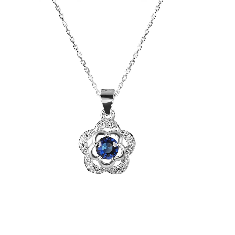 Load image into Gallery viewer, Susie Two-Flower Silver Earrings and Necklace Set with Cubic Zirconia and Gem