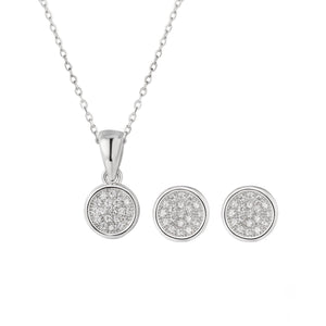 Sabrina Round Silver Earrings and Necklace Set with Cubic Zirconia