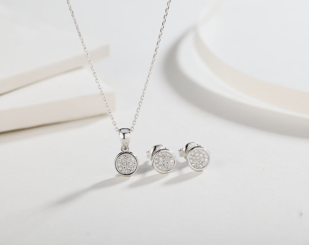 Sabrina Round Silver Earrings and Necklace Set with Cubic Zirconia 4