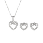 Sylvia Heart Silver Earrings and Necklace Set with Cubic Zirconia