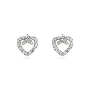 Load image into Gallery viewer, Sylvia Heart Silver Earrings and Necklace Set with Cubic Zirconia