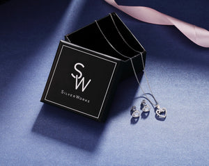 Load image into Gallery viewer, Sylvia Heart Silver Earrings and Necklace Set with Cubic Zirconia Box Packaging