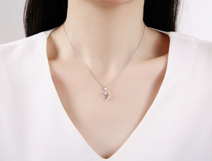 Load image into Gallery viewer, Sylvia Heart Silver Earrings and Necklace Set with Cubic Zirconia Model