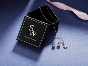 Sara Floral Silver Earrings and Necklace Set with Cubic Zirconia Box Packaging
