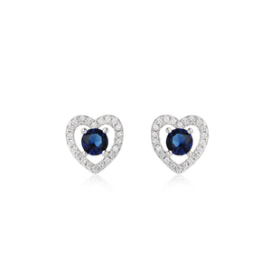 Stacie Heart Silver Earrings and Necklace Set with Cubic Zirconia and Gem