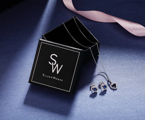 Stacie Heart Silver Earrings and Necklace Set with Cubic Zirconia and Gem Box Packaging