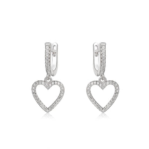 Sophia Open Heart Silver Earrings and Necklace Set with Cubic Zirconia