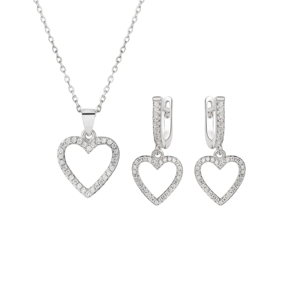 Sophie Open Heart Silver Earrings and Necklace Set with Cubic Zirconia