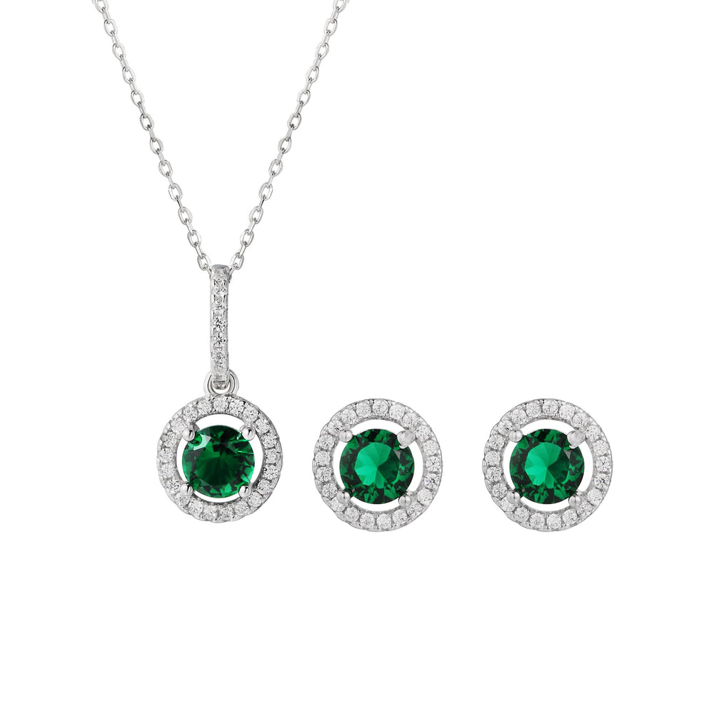 Sia Halo Silver Earrings and Necklace Set with Cubic Zirconia and Green Gem
