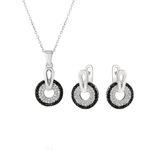 Sienna Black Halo Silver Earrings and Necklace Set with Onyx and Cubic Zirconia Stones