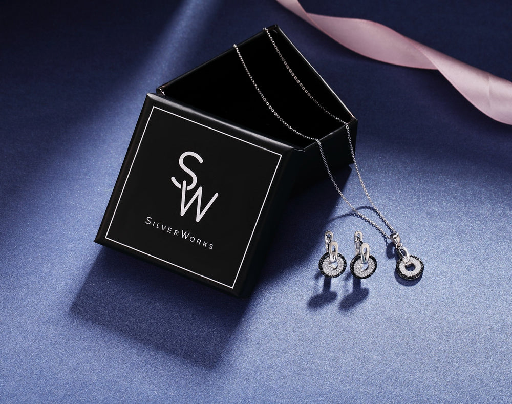 Sienna Black Halo Silver Earrings and Necklace Set with Onyx and Cubic Zirconia Stones Box Packaging