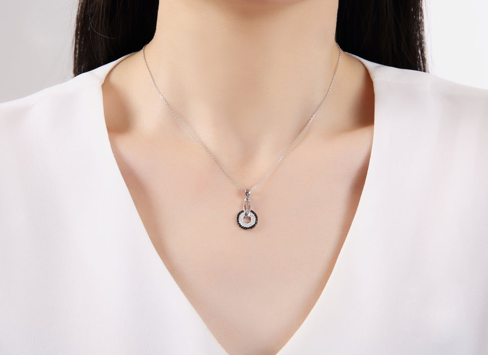 Sienna Black Halo Silver Earrings and Necklace Set with Onyx and Cubic Zirconia Stones Model