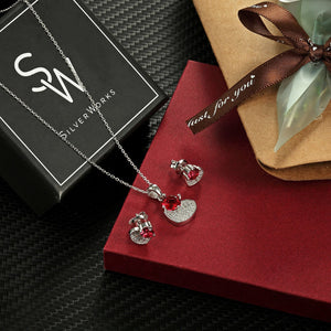 Sandra Heart Silver Earrings and Necklace Set with Cubic Zirconia Box Packaging
