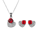Sandra Heart Silver Earrings and Necklace Set with Cubic Zirconia