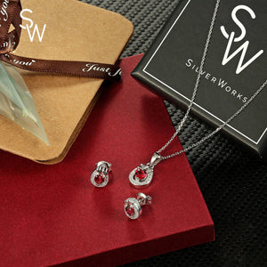 Sheryl Oval Silver Earrings and Necklace Set with Cubic Zirconia and Heart Gem Box Packaging
