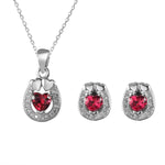 Sheryl Oval Silver Earrings and Necklace Set with Cubic Zirconia and Heart Gem