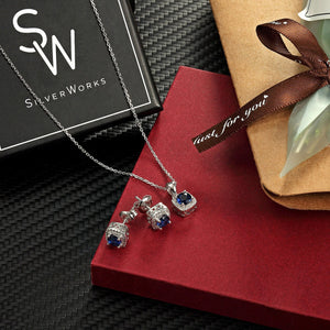 Suzanne Silver Earrings and Necklace Set with Gem 9