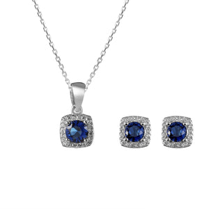 Suzanne Silver Earrings and Necklace Set with Gem 7
