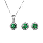 Suzanne Silver Earrings and Necklace Set with Cubic Zirconia and Gem