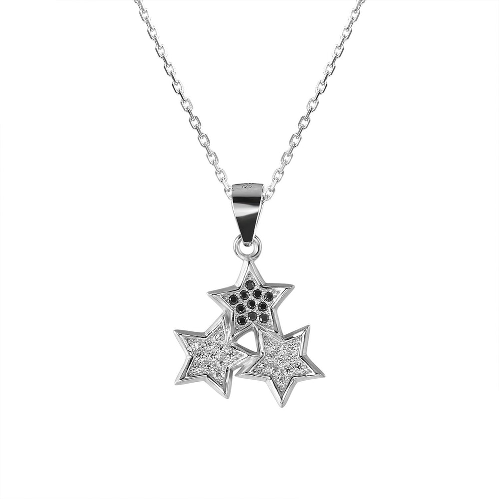Sevana Connected Stars Silver Earrings and Necklace Set with Onyx and Cubic Zirconia stones