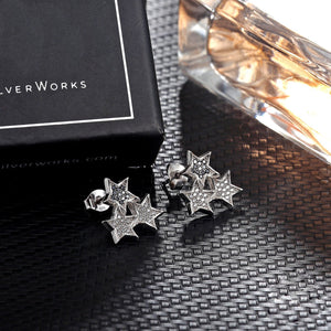 Sevana Connected Stars Silver Earrings and Necklace Set with Onyx and Cubic Zirconia stones Box Packaging