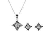Sharayah Square Silver Earrings and Necklace Set with Onyx and Cubic Zirconia Stones