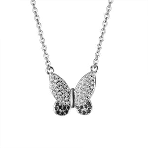 Seana Butterfly Silver Earrings and Necklace Set with Black Onyx and Cubic Zirconia