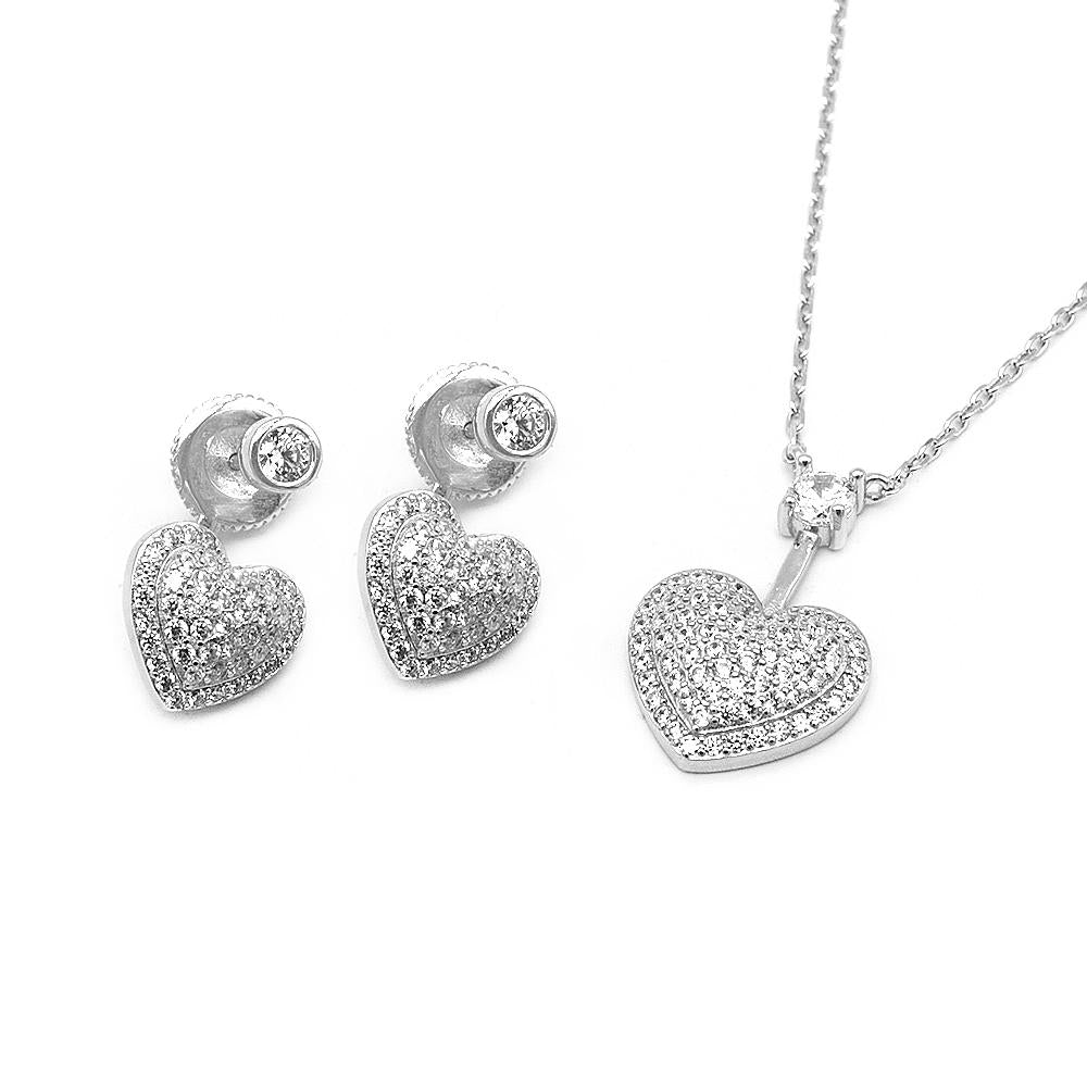 Sophia Pave Heart Silver Earrings and Necklace Set with Cubic Zirconia