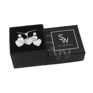 Sophia Pave Heart Silver Earrings and Necklace Set with Cubic Zirconia Box Packaging