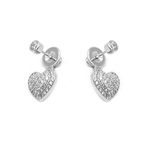 Load image into Gallery viewer, Sophia Pave Heart Silver Earrings and Necklace Set with Cubic Zirconia