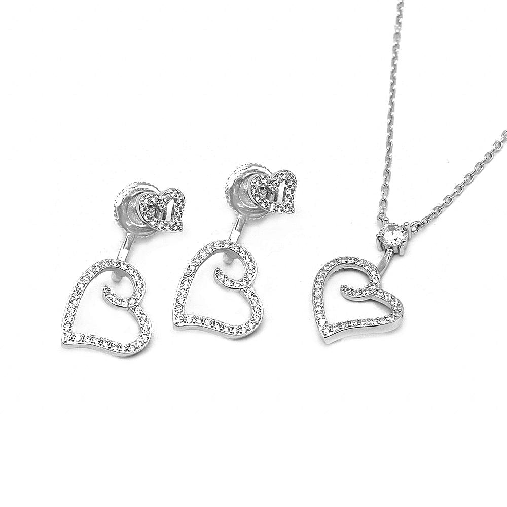 Sonia Swirl Heart Silver Earrings and Necklace Set with Cubic Zirconia