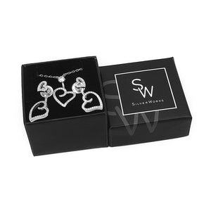 Sonia Swirl Heart Silver Earrings and Necklace Set with Cubic Zirconia Box Packaging