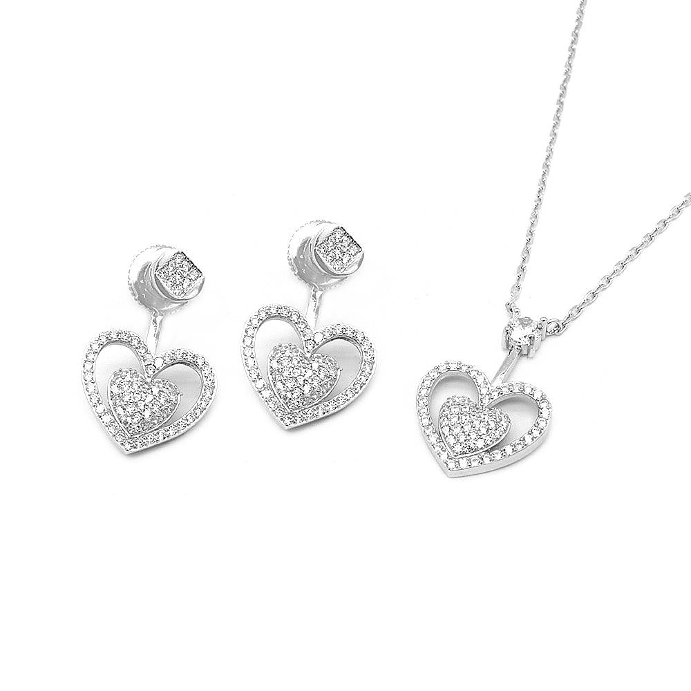 Savannah Pave Heart in Heart Halo Silver Earrings and Necklace Set with Cubic Zirconia