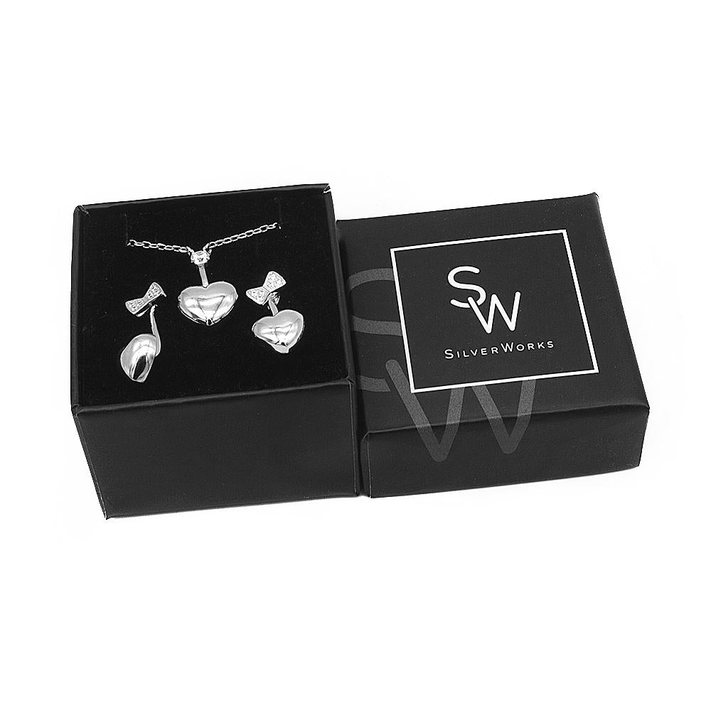 Sarah Heart Silver Earrings and Necklace Set with Cubic Zirconia Box Packaging