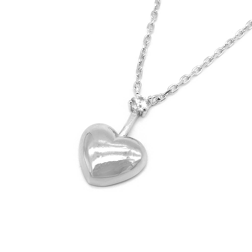 Sarah Heart Silver Earrings and Necklace Set with Cubic Zirconia