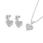 Selena Pave Heart Silver Earrings and Necklace Set with Cubic Zirconia