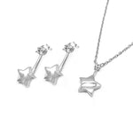 Sabine Star Silver Earrings and Necklace Set with Cubic Zirconia