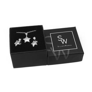 Sabine Star Silver Earrings and Necklace Set with Cubic Zirconia Box Packaging