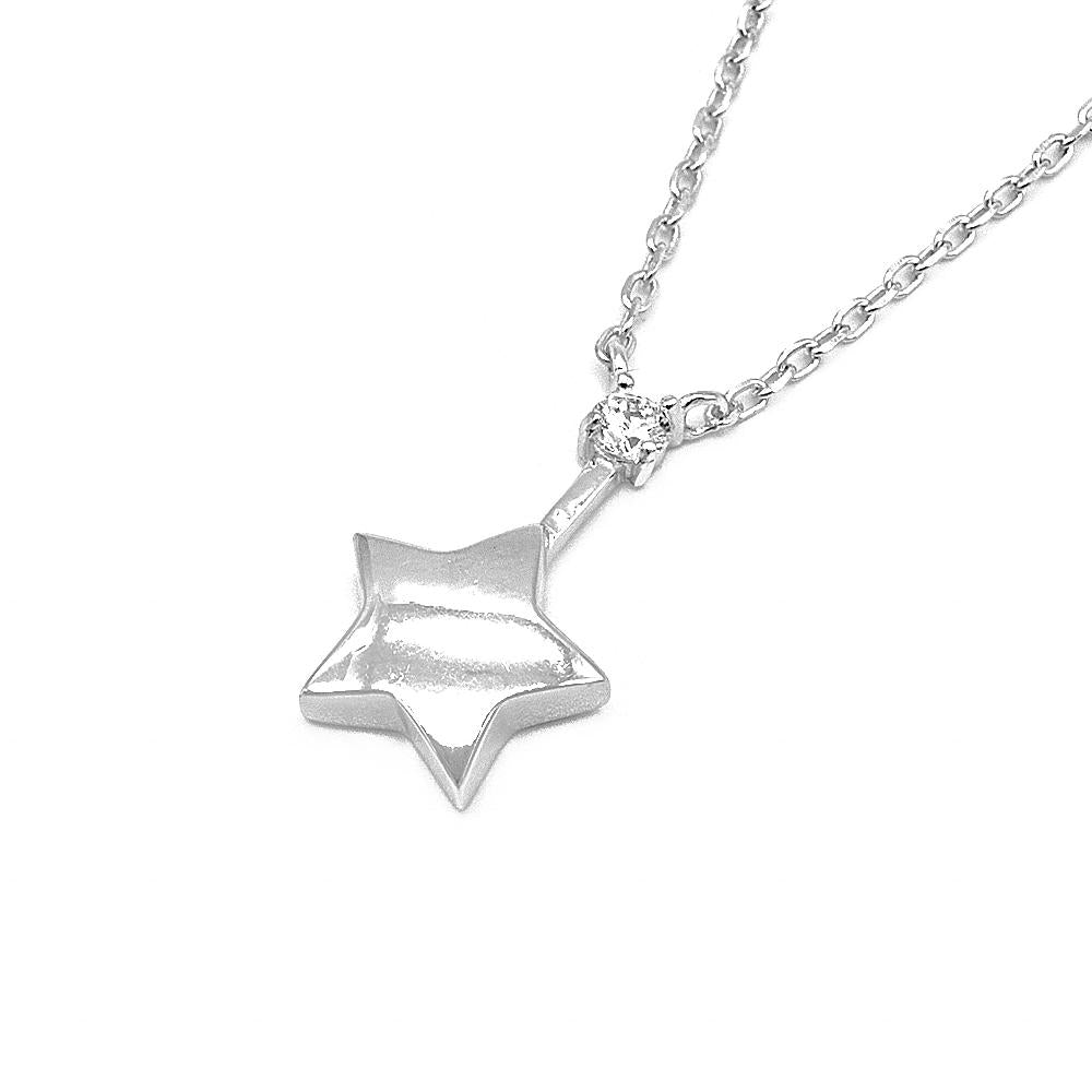 Sabine Star Silver Earrings and Necklace Set with Cubic Zirconia 2