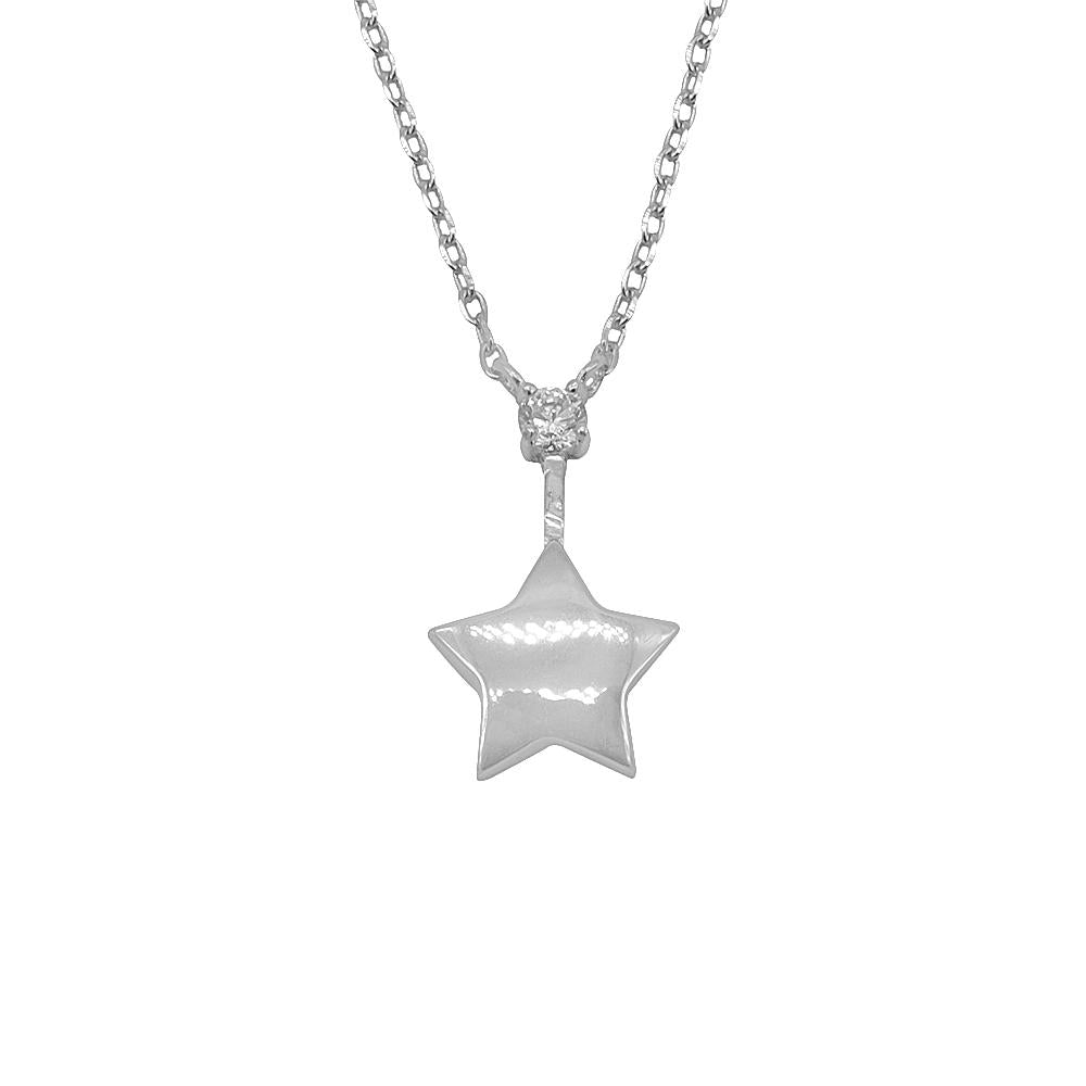Sabine Star Silver Earrings and Necklace Set with Cubic Zirconia 4